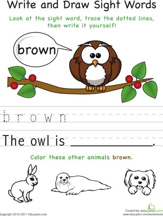 Write and draw sight words worksheets