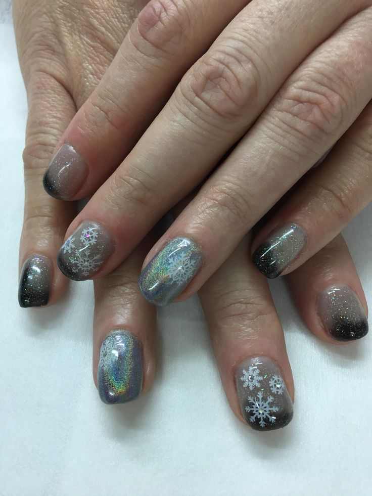 Unicorn Hologram Color Changing Starry Night Winter Snowflake Gel Nails