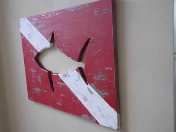 Wood Diver Down Sign with Shark cut out by BeachHouseWoodworks