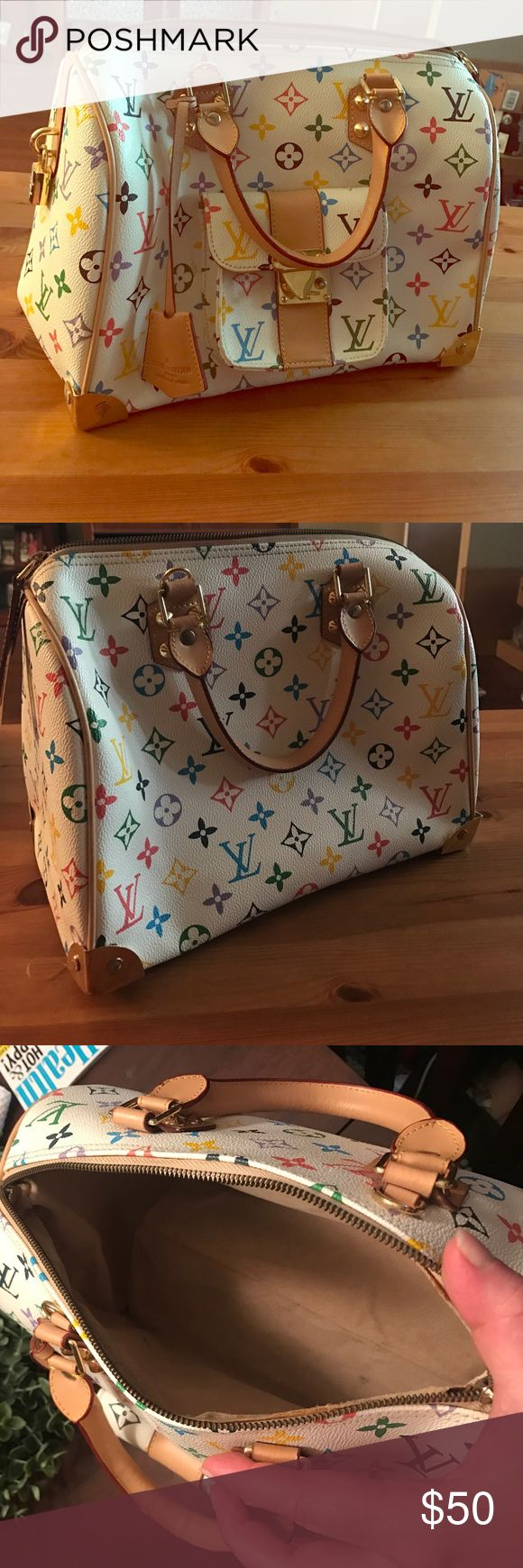 LV inspired speedy bag in multicolor High quality 'Inspired' multicolor monogram speedy bag. Please read before asking as this is NOT auth and you won't find one for this price. Louis Vuitton Bags
