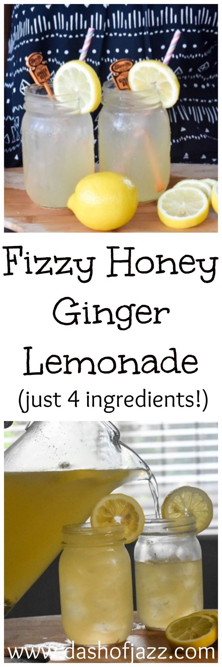All-natural, 4-ingredient fuzzy honey ginger lemonade is your new favorite easy summer drink! Dash of Jazz