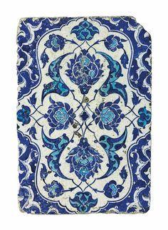A blue and white Iznik pottery tile, Ottoman Turkey, circa 1530