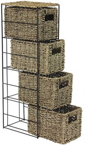 Storage #tower unit with seagrass baskets and #sturdy black #metal frame 4 drawer,  View more on the LINK: 	http://www.zeppy.io/product/gb/2/152182075660/