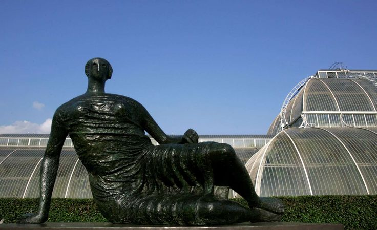 "The sculpture ""Draped Reclining Woman"" by Henry Moore is seen at Kew Gardens in west London."
