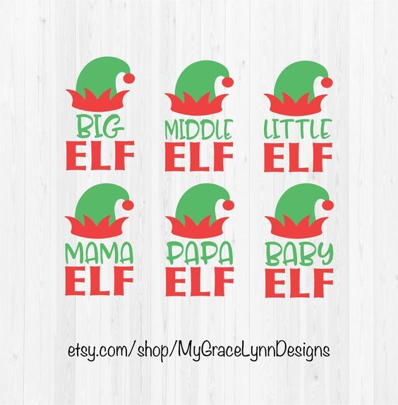 Elf Family - Big, Middle, Little, Mama, Papa & Baby Elf - SVG Cut Files by MyGraceLynnDesigns on Etsy