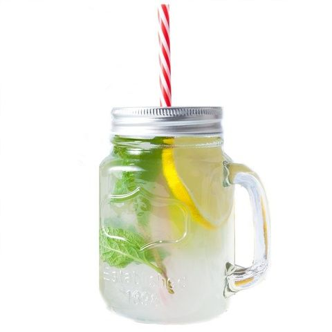 Glass Drinking Jar with Straw $0.75 | Size:  14cm (H) x 10cm (W including handle) 500ml volume  Material: Glass jar with plastic reusable straw  Care Instructions: Hand wash only  Not suitable for hot contents. Not suitable for dishwasher use. For domestic use only.