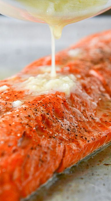 Garlic Butter #Salmon w/ Caramelized Shallot Relish. Dbl-click pic for ...