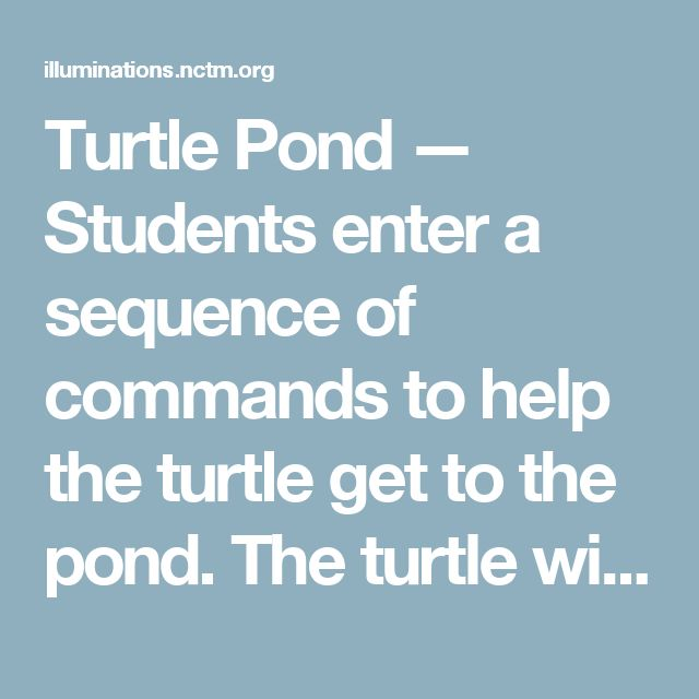 Turtle Pond — Students enter a sequence of commands to help the turtle get to the pond. The turtle will then move along a path according to their instructions.