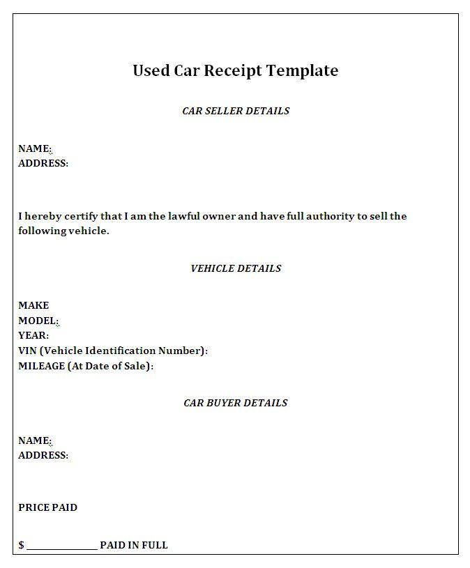 Vehicle Sales Receipt Template Receipt Template Invoice