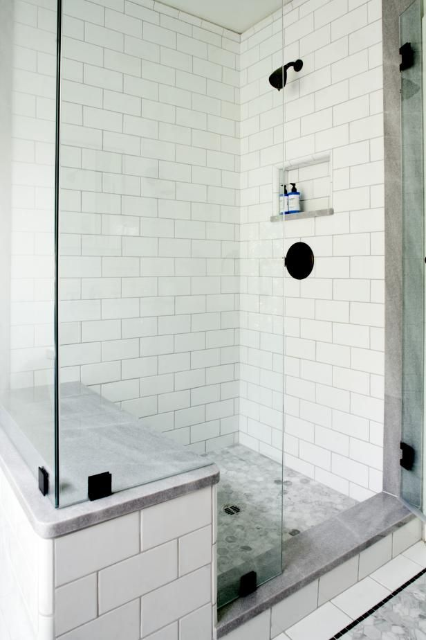 White tile walk in shower with glass walls and sitting - Home depot bathroom tile installation cost ...