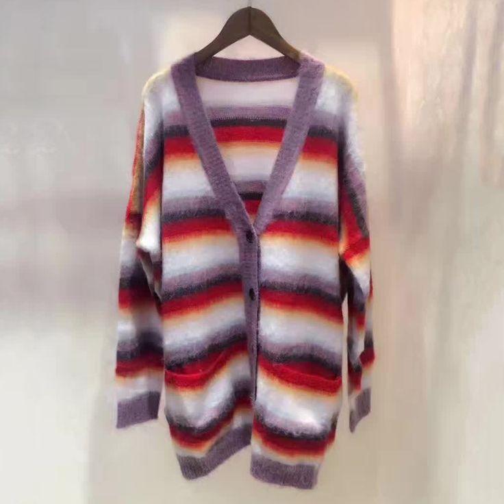 Womens Wool Cardigan Sweaters Long Sleeve V-neck Sweater 2017 Striped Runway Cardigans Sweater