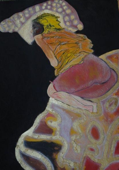 Jennifer Sulaj Sleeping Beauty size: 75cm x 45cm Medium: Inks, acrylics, pastels on paper  (white frame) Price: $625