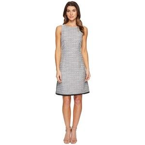 Ellen Tracy Fitted A-Line Dress (Black Combo) Women's Dress