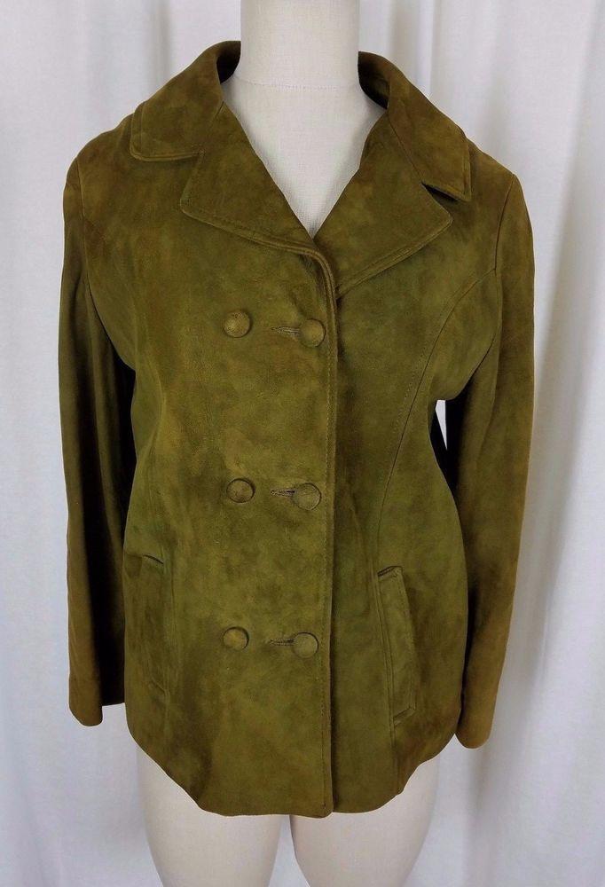 Vintage Highlander Chartreuse Green Suede Jacket Womens size 12 Plaid Wool Lined #Highlander #Peacoat #Outdoor