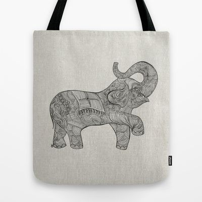 Good Luck Elephant Trunk Tote Bag by clickybird - Belinda Gillies - $22.00