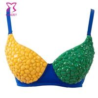 Hot Lady Punk Cocktail Party Night Club Dancing Beadings Studded Top Bra Yellow and Green Patchwok Sexy Bra