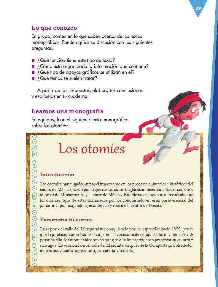 Cuarto - Español14 - Bloque 2 - Elaborar un texto monográfico sobre pueblos originarios de México