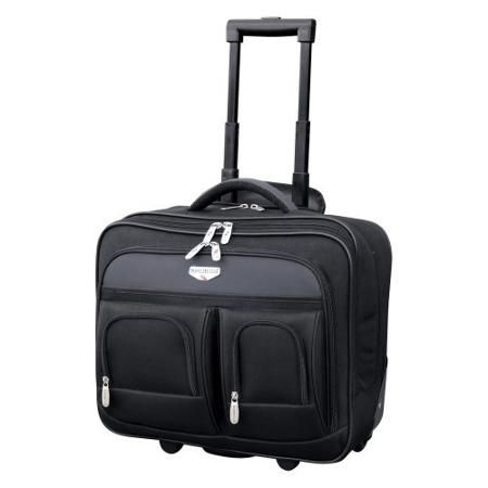 Travelers Club Luggage 17 in. Dual Section Rolling Briefcase With Padded Laptop Compartment