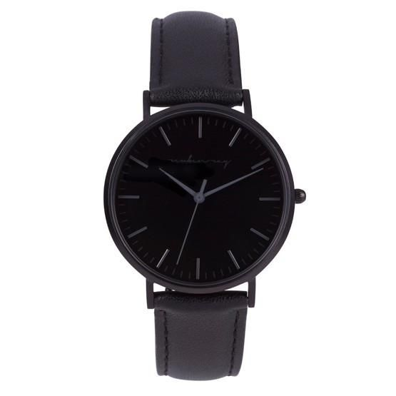 Reuben Ray Classic Matte Black Watch with Black Stitched Leather Band