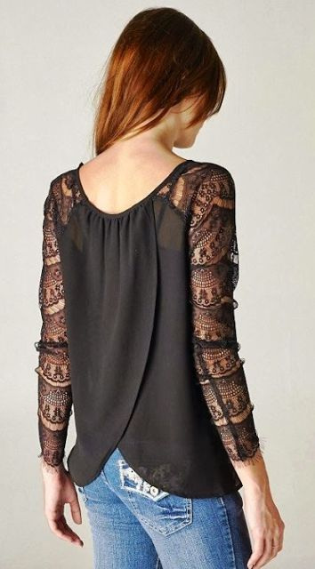 Black blouse with lace arms