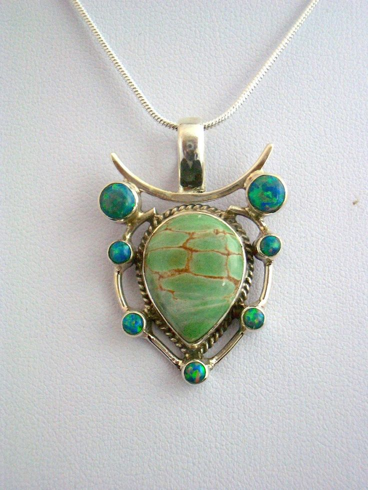 Australian Variscite Genuine Gemstone and Fire Opal 925 Sterling Silver Neoclassical Style Pendant Jewellery. by Ameogem on Etsy