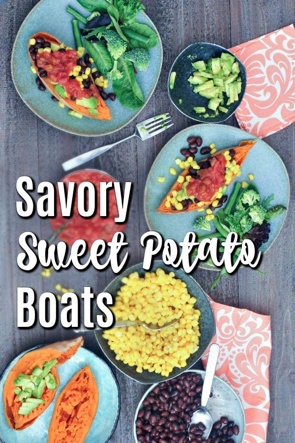 Sweet Potato Boats In 2020 Vegan Recipes Healthy Sweet Savory Raw Food Recipes
