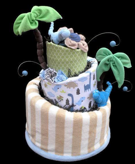Dinosaur Diaper Cake, Baby Shower Gift, Baby Shower Centerpiece, Made to Order
