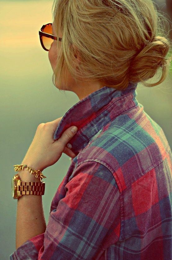 Plaid + wristwear + chignon: Fashion, Flannels Shirts, Fall Style, Long Hairstyles, Messy Buns, Gold Watches, Plaid Shirts, Gold Jewelry, Gold Accessories