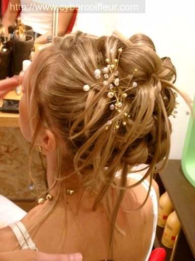 Chignon de mariée et perles