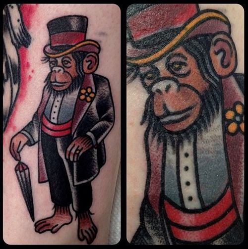 Not a fan of  a chimp dressed up but I like the style. Not often you find a tattoo that even does a chimpanzee justice