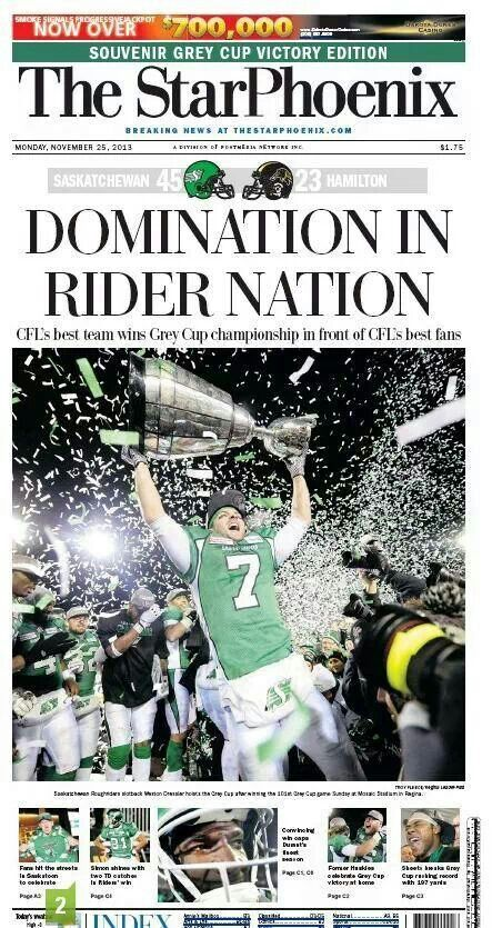 The cover of the StarPhoenix after the Saskatchewan Roughriders won Grey Cup 101.