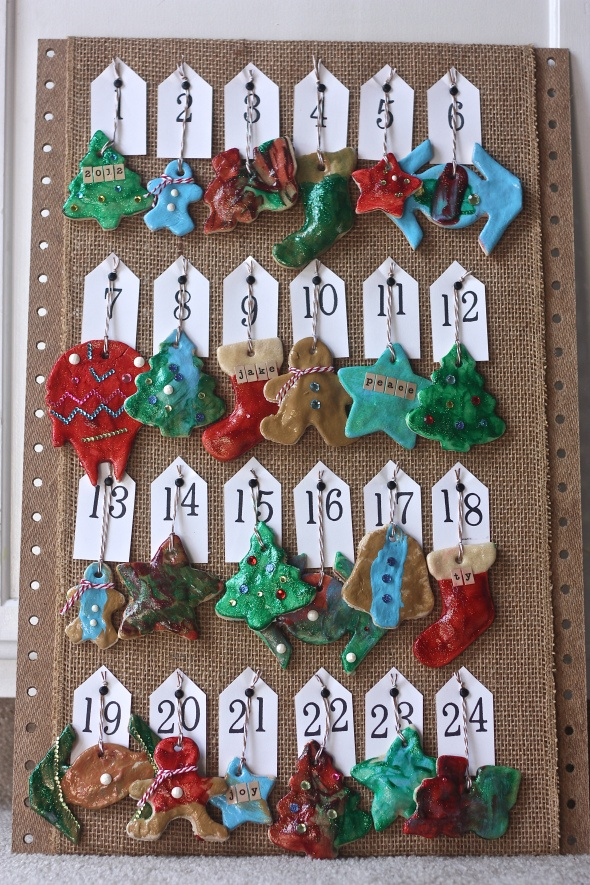 salt dough ornament advent calendar-kids can hang one ornament a day on the tree