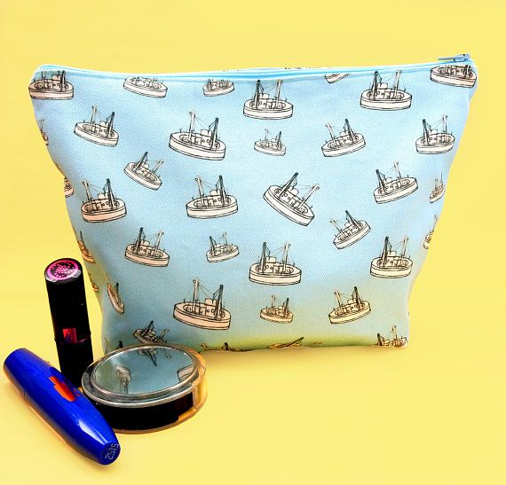 Boat makeup bag  large cosmetics bag  boat zip pouch  boat