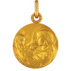 Médaille de bapteme en or, medaille Vierge à l'enfant Nativité €295