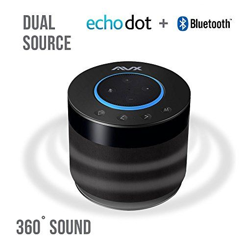 Echo Dot Speaker w/Bluetooth 360 Degree Sound and Built-In Rechargeable Battery. Dual Source Alexa Speaker