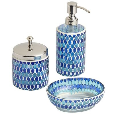 28 best guest bathroom images on pinterest bathroom for for Blue mosaic bathroom accessories