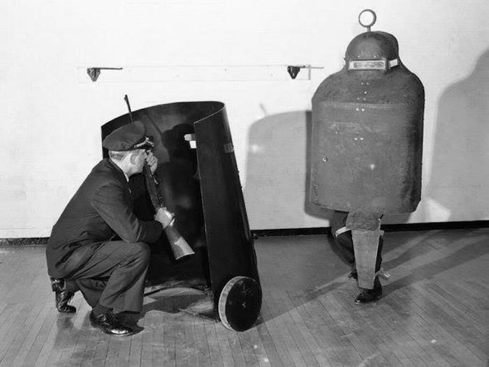 Detroit police - mobile armor against riot crowds.  Late 1950s.