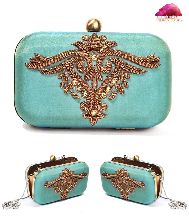 Handmade clutch by Karieshma Sarnaa, an eccentric collection with sophisticated embroidery when it comes to craftsmanship. www.indianroots.com