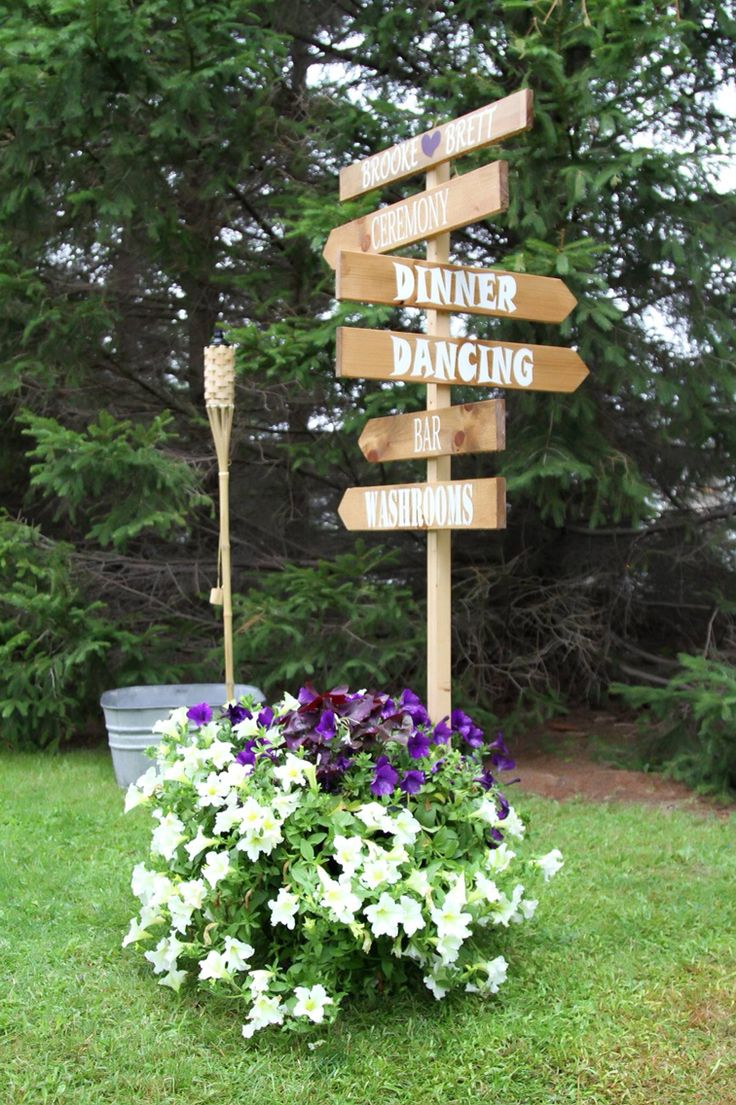 Rustic outdoor wedding sign, direction sign