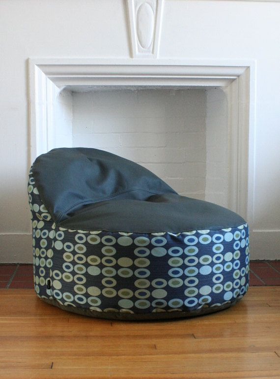 Modern Bean Bag! - large bean bag chair cover - made to order - mod circle and textured stripe. $125.00, via Etsy.