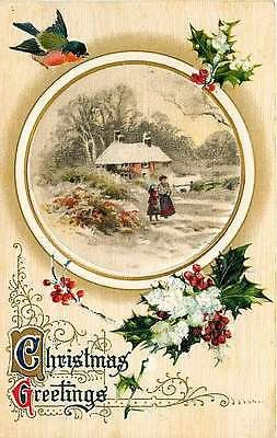 Christmas 1913 Lady Daughter Winter Country Collectible Winsch Vintage Postcard