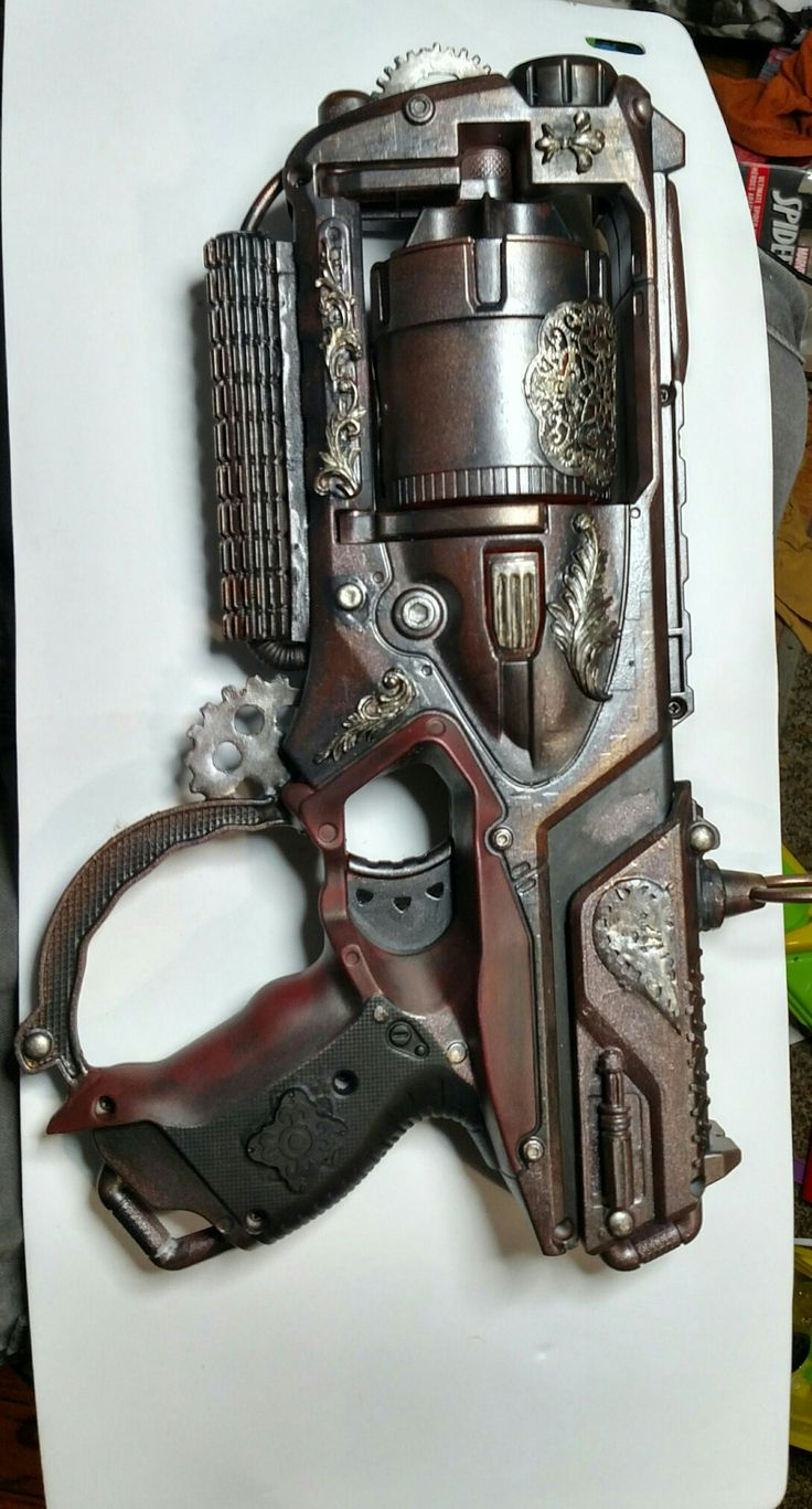 Maverick Nerf gun I kitbashed and steampunk'd out for Wally's steam shop or visit etsy.com EmporiumofwondersCo. For more like this