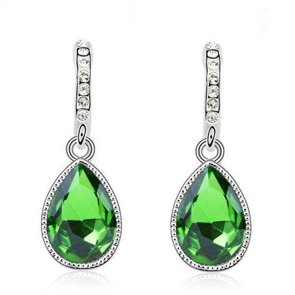 Austria Water Drop Silver Plated Earring Green Main Color Luxury Austrian Crystal Water Drop Earrings
