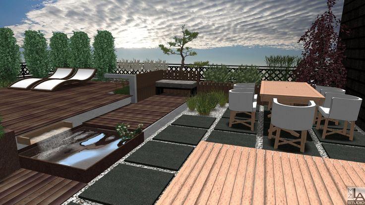 Taras na dachu z miejscem na stół i leżaki.