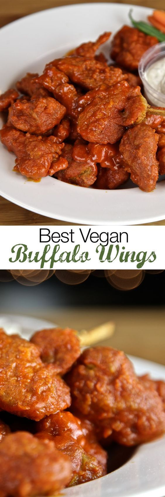 """Give these delicious vegan wings a try-- I promise they will taste JUST like the meat version. The seitan chicken has taken me roughly 2 years to perfect. It is moist, and perfectly spiced. For the """"bones"""" you can use either sugar cane or popsicle sticks; or you can simply have """"boneless"""" wings!  Vegan Buffalo Wings Recipe"""
