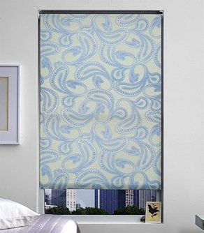 Print Roller Shade in Paisley Blue