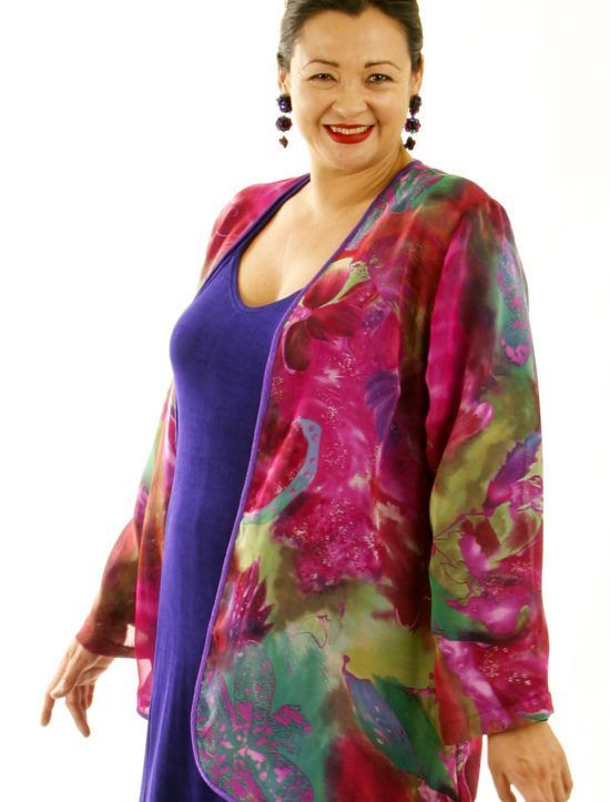 2c03fb689ab Plus Size Special Occasion Jacket Hot Pink Green Purple Silk 18/20: Perfect  mother of the bride jacket is fully lined with purple chiffon and banded in  ...