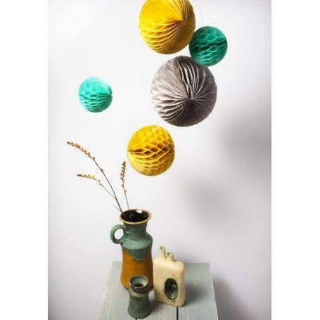 Jut en Juul Lifestyle for Kids : Honeycombs Retro  - okergeel grijs mint