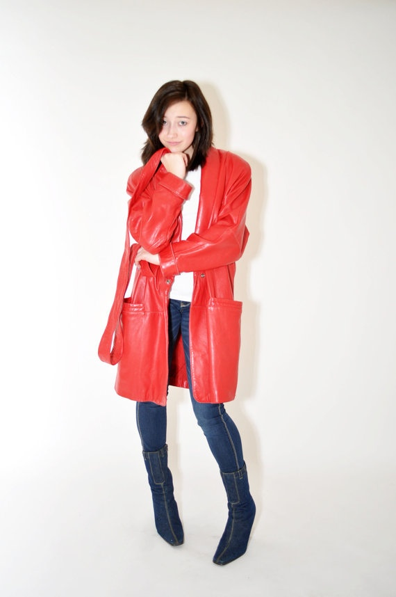 1980s RED Leather by WILSON Wrap Coat by Continual on Etsy, $33.00: Wilson Wraps, 1980S Red, Wraps Coats, Red Leather