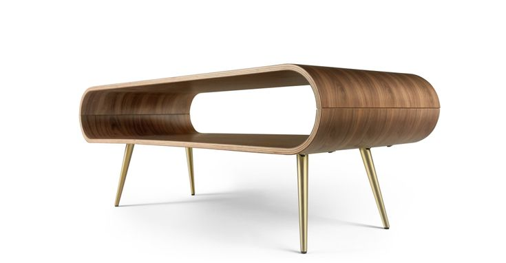 Couchtisch Hooper Hooper Storage Coffee Table, Natural Walnut And Brass